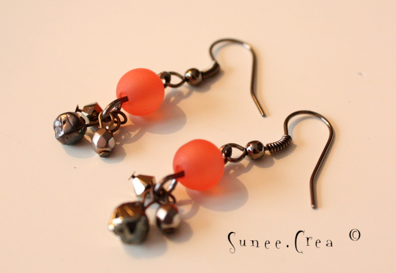boucles d'oreilles marron orange exotique